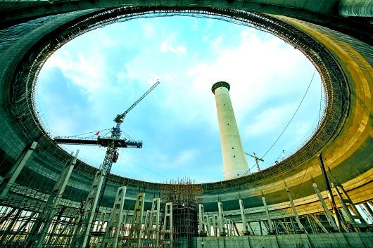 胜利发电厂三期5号机组冷却塔开始施工
