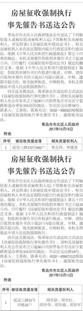青岛市市北区人民政府   2017年10月13日   附表   序号 被征收房屋