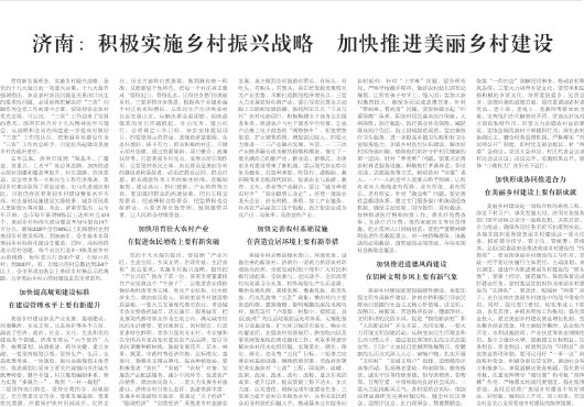 济南:积极实施乡村振兴战略 加快推进美丽乡村建设