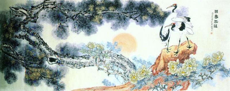 他所画的仙鹤,孔雀等都有这种富贵气,设色浓郁,并勾勒金边,增加了画面