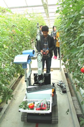 科技发展方向的采摘机器人亮相兰陵菜博会3号展馆.-唱响 天下菜园